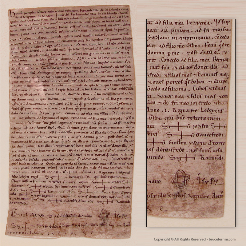 Templar Testament - on vellum, in Latin - Santa Coloma, Catalonia, 1148 A.D