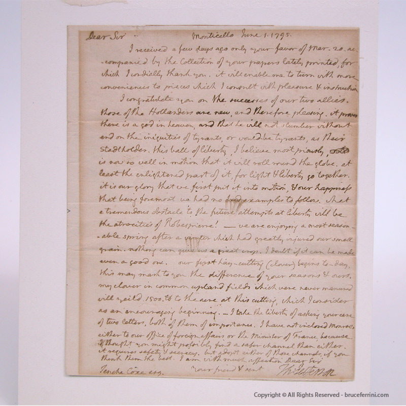 Thomas Jefferson Letter to Tench Coxe